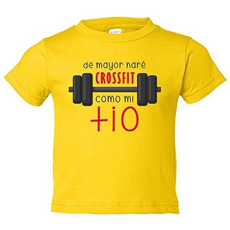 Camiseta niño De mayor haré crossfit como mi tío - Amarillo, 3-4 años