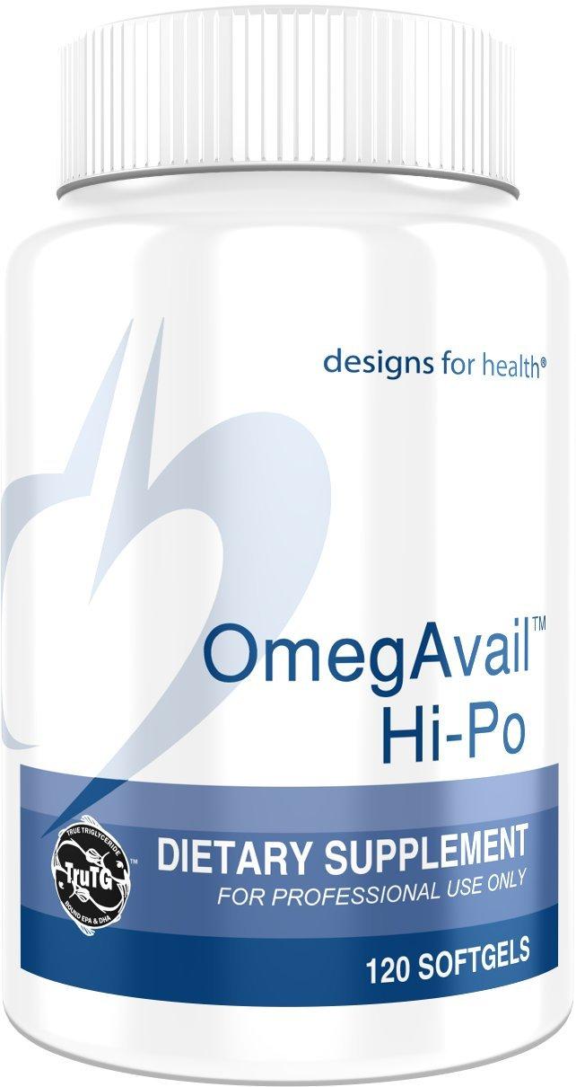 Designs for Health OmegAvail Hi-Po - TG (Triglyceride) Fish Oil Softgels 1500 Milligrams (120 Softgels)