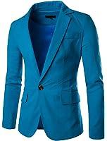 JASSYOY Men's Fashion Cotton Linen Lightweight One Button Blazer Jacket