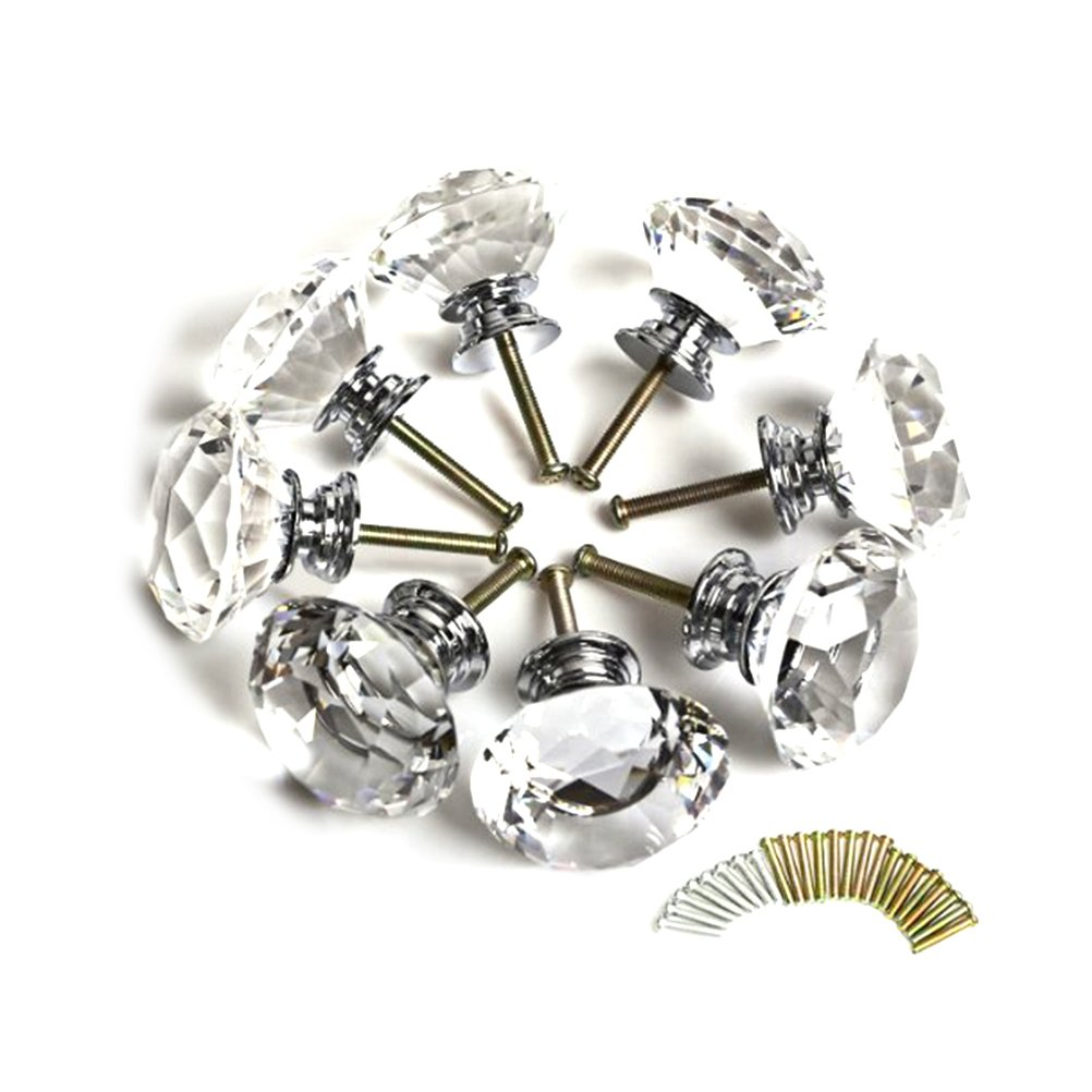 WINOMO 16stk 40mm Diamant Kristallglas Knopf Küche Schrank Schrank ...