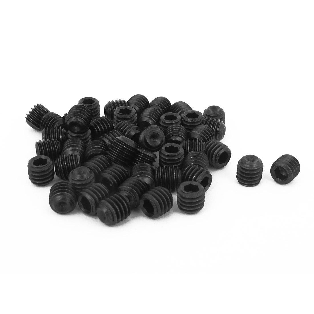 uxcell M6 x 6mm 1mm Pitch Hex Socket Set Cup Point Grub Screws Black 50pcs a15071800ux0205