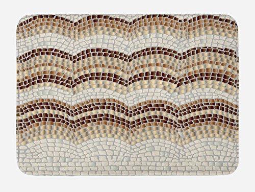 Ambesonne Beige Bath Mat, Gradient Colored Mosaic Waves Setting Antique Roman Royal Dated Retro Patterns, Plush Bathroom Decor Mat with Non Slip Backing, 29.5 W X 17.5 L Inches, Beige Tan - Mosaics Roman Bath