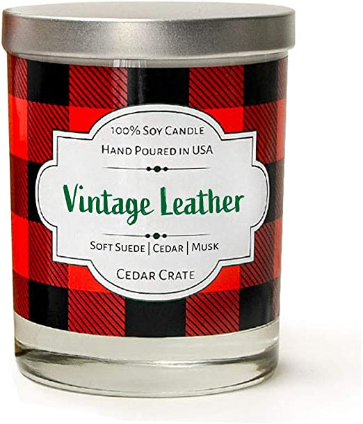 Amazon Com Vintage Leather Soft Suede Cedar Musk Luxury Scented Soy Candles 10 Oz Clear Jar Candle Made In The Usa Decorative Aromatherapy Unique Gifts For Women Or