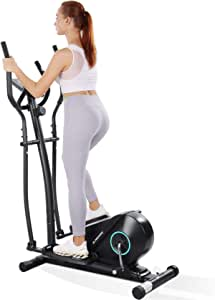 MaxKare Elliptical Machine Trainer Elliptical Exercise Machine for Home Use Portable Elliptical with 5KG Flywheel Magnetic Resistance Heavy Duty Extra-Large Pedal & LCD Monitor Quiet Smooth
