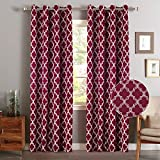 Flamingo P Microfiber Noise Reducing Thermal Insulated Moroccan Blackout Drapes Printed Window Curtains for Living Room, Grommet Top, Set of Two Panels, 52 x 96 Inch Cardinal