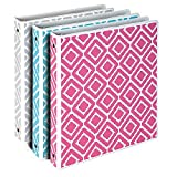 Samsill Stripes Fashion Design 3 Ring Binders, 1 inch Round Ring - Holds 225 Sheets, Assorted Colors - Pink, Blue, Turquoise - 3 Pack