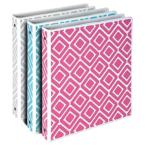 Samsill Stripes Fashion Design 3 Ring Binders, 1 inch Round Ring - Holds 225 Sheets, Assorted Colors - Pink, Blue, Turquoise - 3 Pack by Samsill