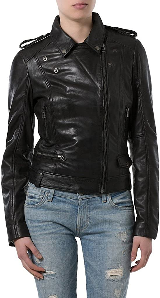Womens Sheep Leather Motorcycle Slim Fit Outwear Jackets LFW018