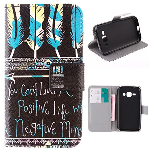 """For Galaxy J1 SM-J100F , ivencase Feather and Blackboard [Closure] Wallet Magnetic Pattern Flip With Built-in Media Stand and Credit Card Slots PU Leather Case Protective Cover for Samsung Galaxy J1 SM-J100F 4G + One """"ivencase """" Anti-dust Plug Stopper"""