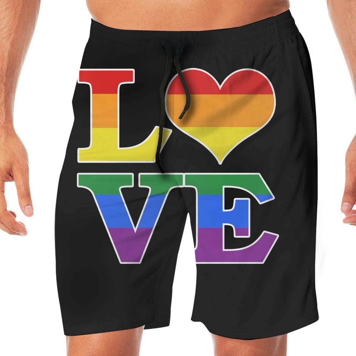 Mens Bathing Suit Gay Love Rainbow Heart Gay/&Lesbian Pride Lightweight Beach Boardshort for Men