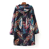 XOWRTE Women's Vintage Oversize Jacket Floral Print Hooded Pockets Coat Warm Winter Overcoat Outwear