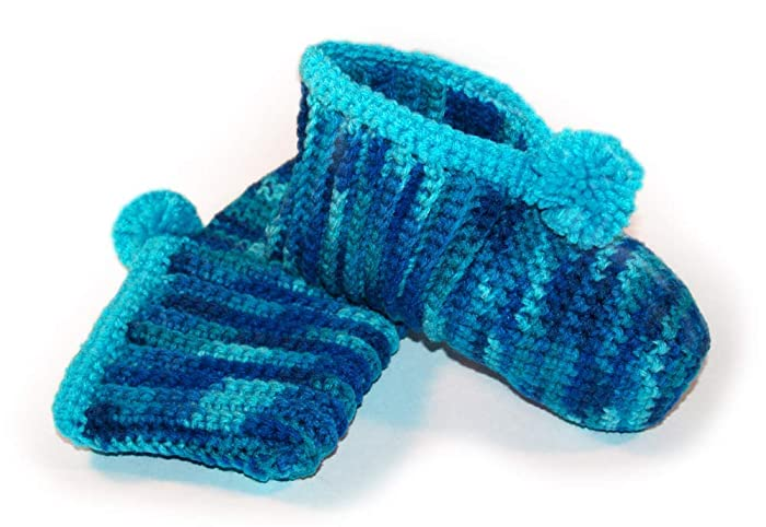 Amazoncom Blue Crocheted Slippers Turquoise Slippers Blue