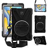 ZenRich New Galaxy Tab A 8.0 Case【2018】 SM-T387 Case 360 Rotatable w/Kickstand,Hand Strap & Shoulder Grip, zenrich Heavy…