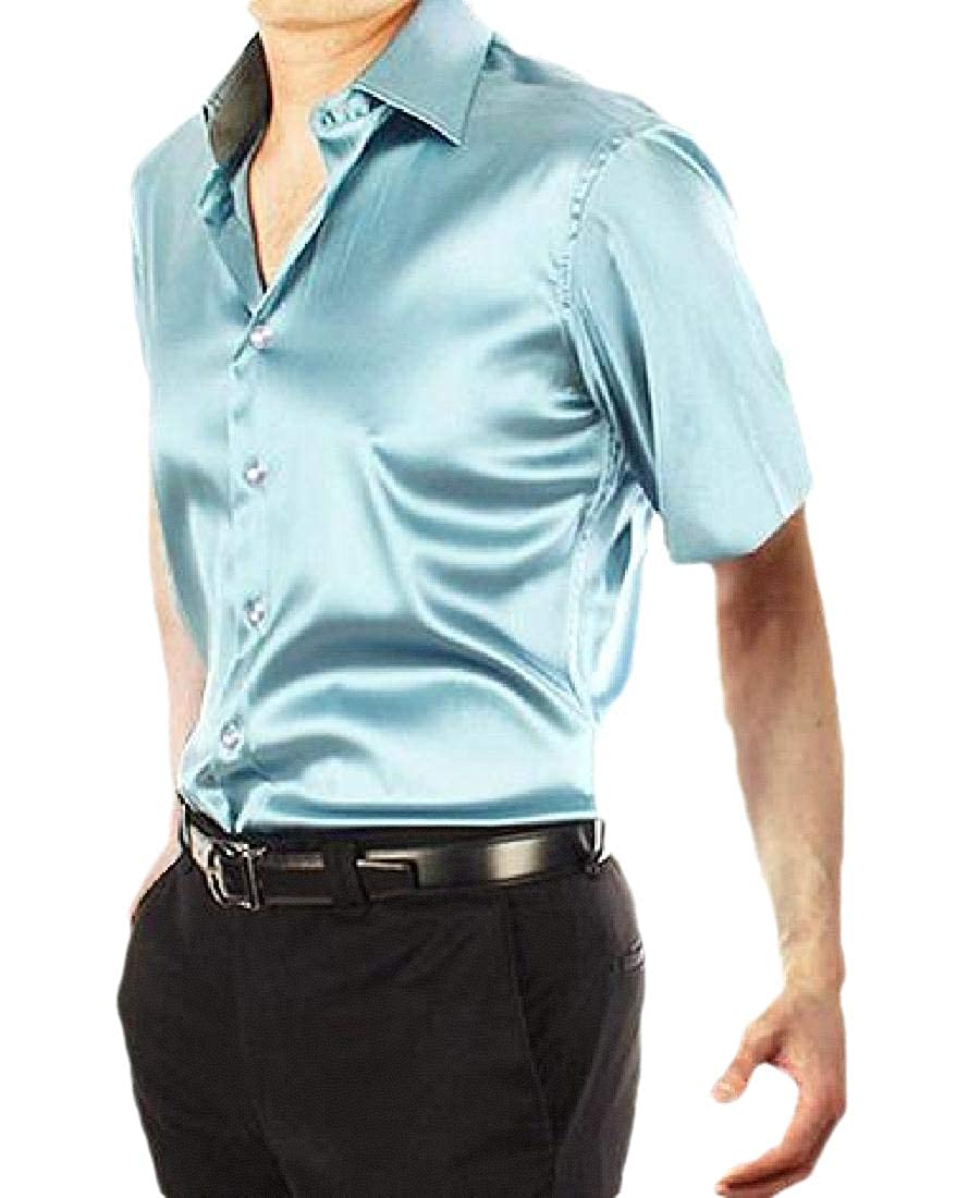 Xswsy XG Mens Satin Short Sleeve Dance Slim Fit Button Down Shirt