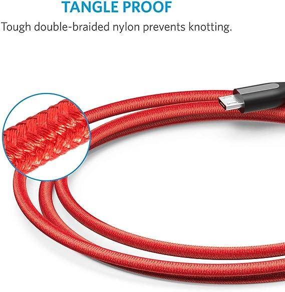 Cable Micro USB con cinta de cable y doble trama de nylon Rojo 0.9 m Anker PowerLine