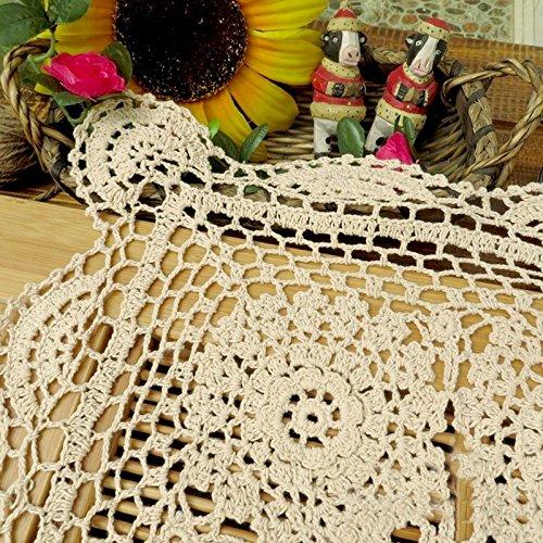 tidetex Handemade cuadrado tridimensional flores funda para mesa mantel de Hollow Out de encaje crochet Doilies rural mesa overlay multiusos para toalla, ...