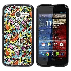 YOYOYO Smartphone Protección Defender Duro Negro Funda Imagen Diseño Carcasa Tapa Case Skin Cover Para Motorola Moto X 1 1st GEN I XT1058 XT1053 XT1052 XT1056 XT1060 XT1055 - hamburguesa de comida rápida arte pop perro caliente