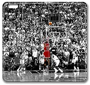 """Michael Jordan iPhone 6 Case, Leather Cover for iPhone 6 (4.7"""") Premium Soft PU Leather Wallet Cover - Verizon, AT&T, Sprint, T-Mobile, International, and Unlocked with Black PC Hard Case Inside for iPhone 6 by iCustomonline"""