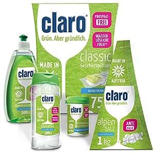 Claro Práctico Pack para Lavar la Vajilla - 75 Pastillas Detergente, Botellita de 500ml de detergente, Abrillantador de 500 ml, 1kg de Sal, 1 Botecito ...