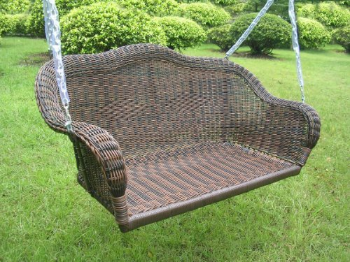International Caravan Chelsea Wicker Resin Hanging Loveseat Patio Swing Many Colors