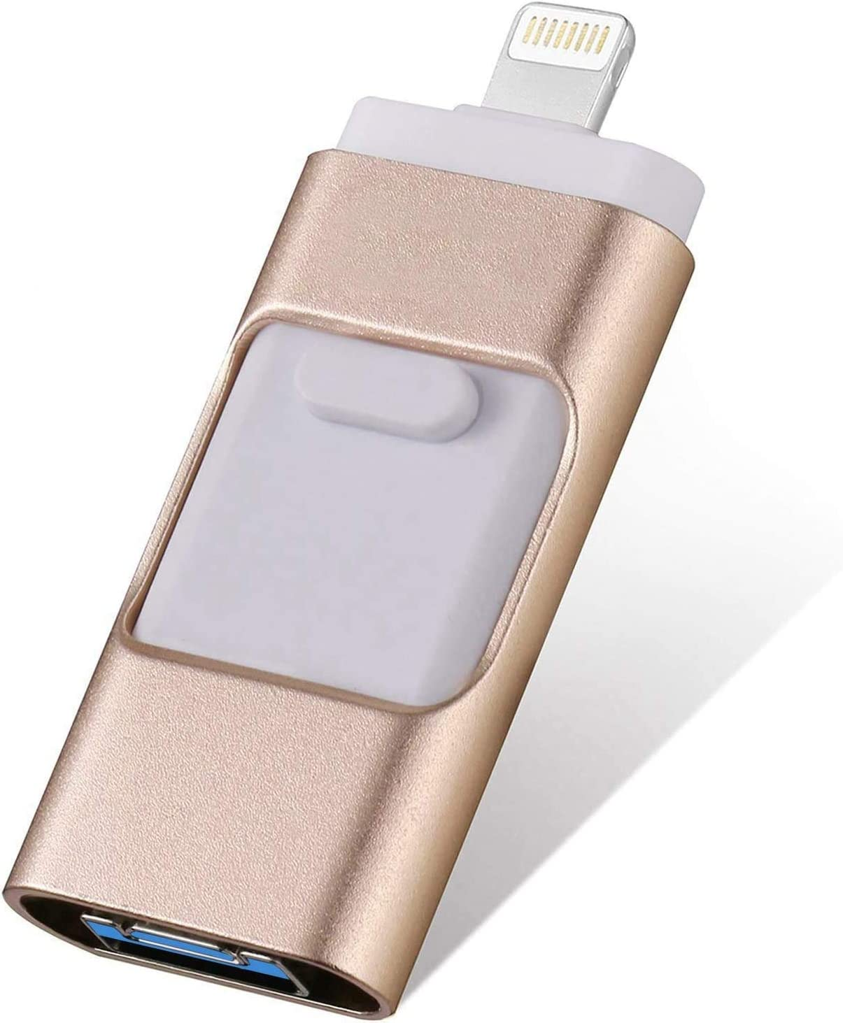 iOS Flash Drive for iPhone 256GB,[3 in 1] iPhone Thumb Drive Memory Stick Storage USB3.0 Photo Picture Stick Jump Drive Mobile for iPhone External Storage/Android/PC/ipad (Gold)