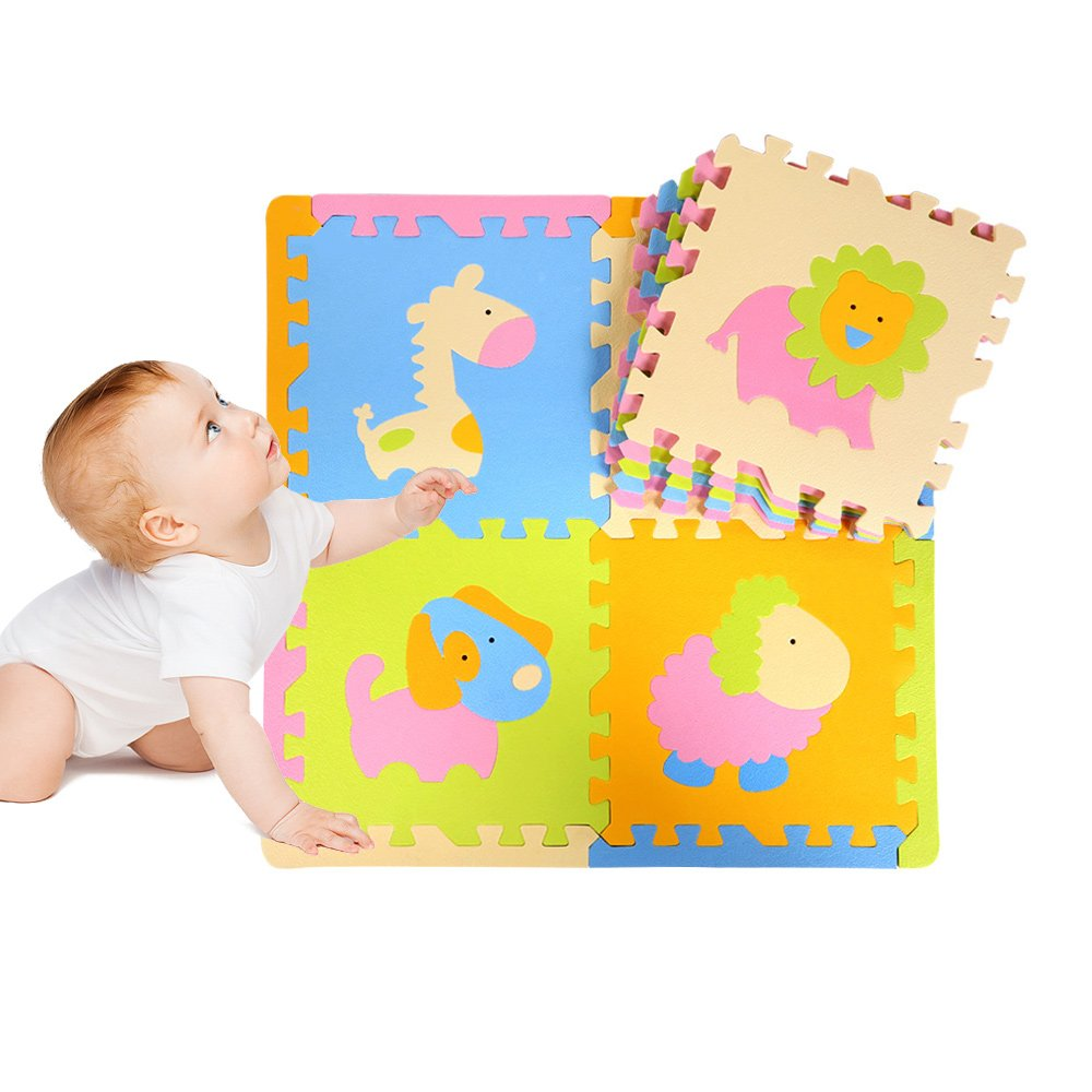 DKY Puzzle Play Mat,Soft Baby Floor Mat 9 Tiles with Vibrant animal images for Children's Playrooms - Foam Play Mats 12'' x 12''
