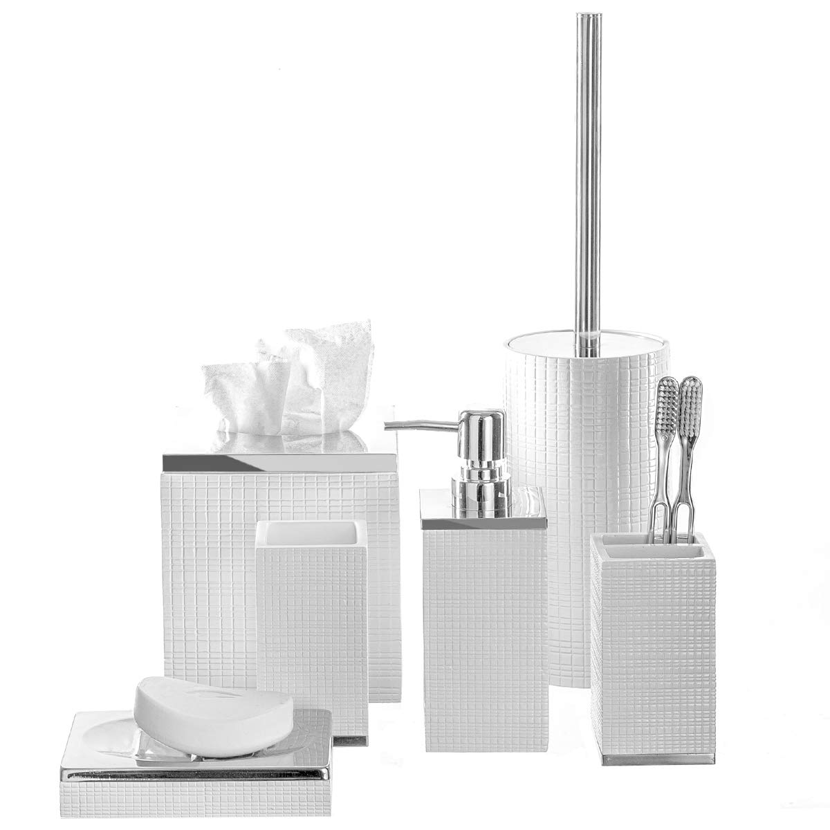 Creative Scents Estella 6-Piece Bathroom Accessories Set, Includes Decorative Countertop Soap Dispenser, Soap Dish, Tumbler, Toothbrush Holder, Tissue Box Cover and Toilet Bowl Brush (White)