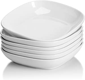 Sweese 121.001 Porcelain Square Salad Pasta Bowls - 30 Ounce - Set of 6, White