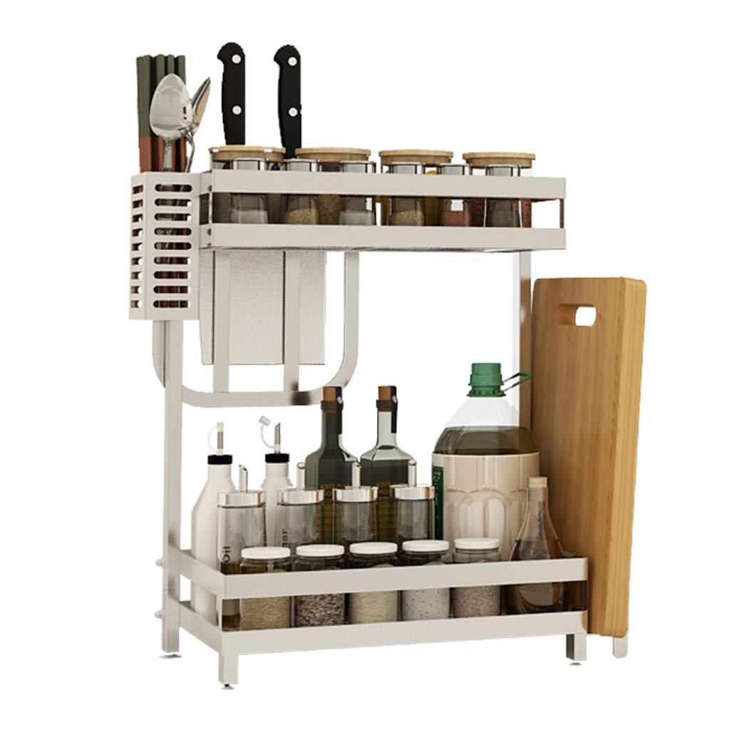WLNKJ Kitchen Storage Rack Bracket, 2/3 Layer Multi-Function Desktop Seasoning Storage Rack, Stainless Steel Kitchen Spice Rack - Silver,b,2layer
