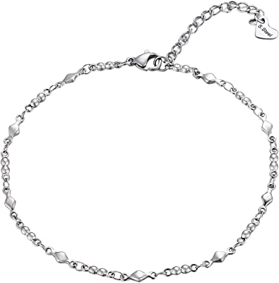 Silver Heart Chain Anklet
