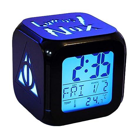 Shuofeng Tech Harry Potter Cargador USB 3D LED Despertador Blanco Colorido Retroiluminación Colorido Digital 7 Platos