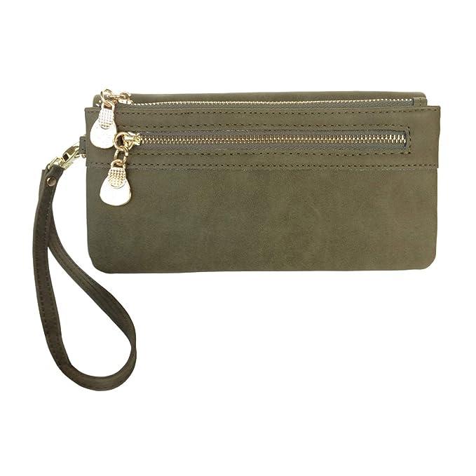 c6850e1680b3b4 Women's Wristlet Wallet FanCarry PU Leather Clutch Purse Card Organizer  w/Front Zipper Pockets (Olive Green)