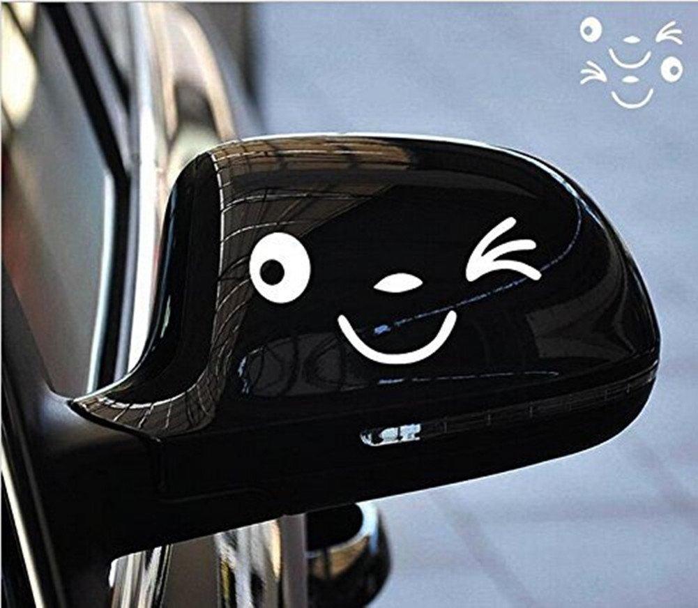 R R/étroviseur JUNGEN 1 Paire Visage Craquant Souriant Sticker Visage 3D Autocollant Pour Auto Voiture C/ôt/é Miroir L