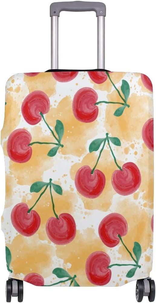 FOLPPLY Watercolor Cherry Pattern Luggage Cover Baggage Suitcase Travel Protector Fit for 18-32 Inch