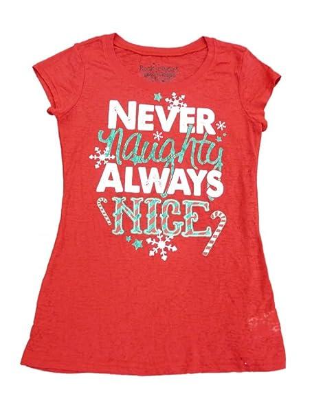 3707e8e1abf Rocker Girl Junior Women Red Naughty Nice Christmas Semi Sheer Fitted Shirt  S