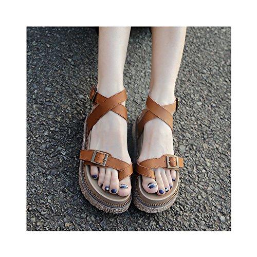 Mujer Hebilla del cinturón sandalias del mollete de verano era delgada y confortable camello