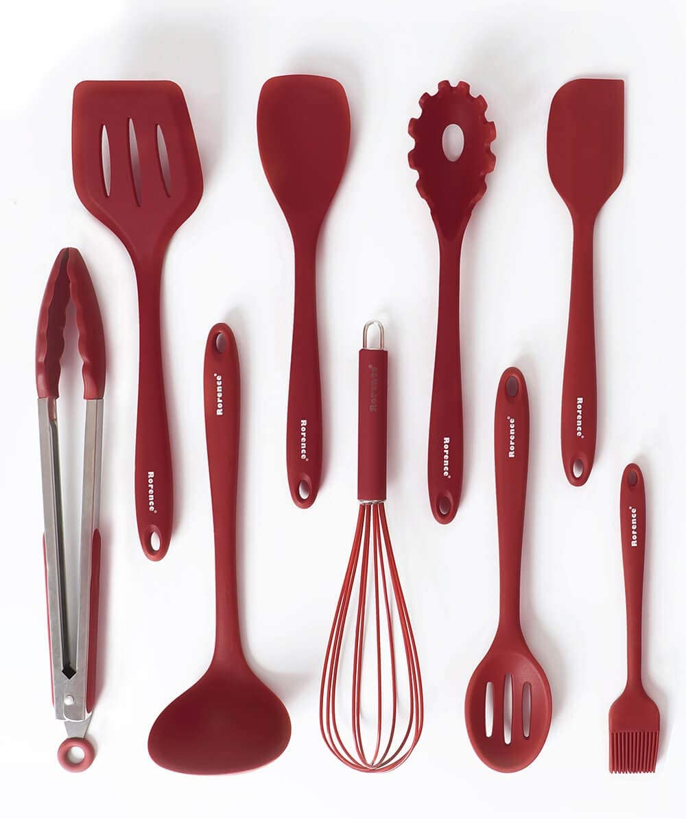 Rorence 9 Pieces Silicone Cooking Kitchen Utensil Set - Wine Red