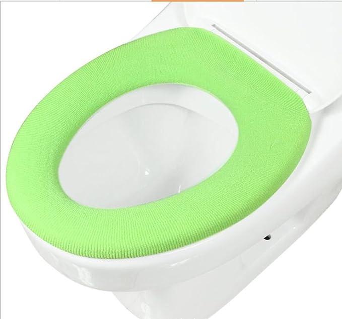 Gullor doux et chaud épaississent housses de sièges de toilettes - vert