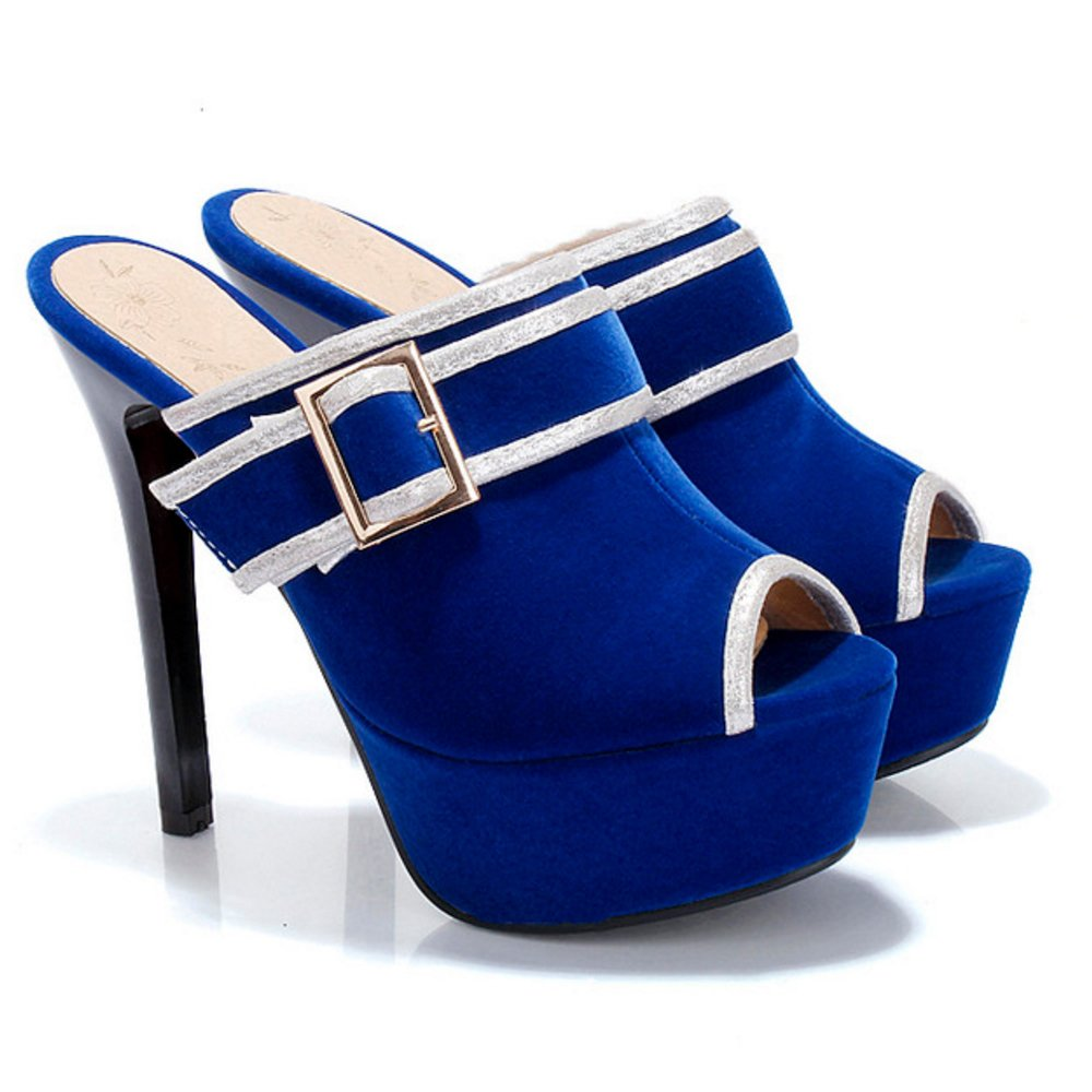 FANIMILA Women US Stiletto Fashion Mules B07D8P83F5 7 US Women = 24.5 CM|Blue 668330