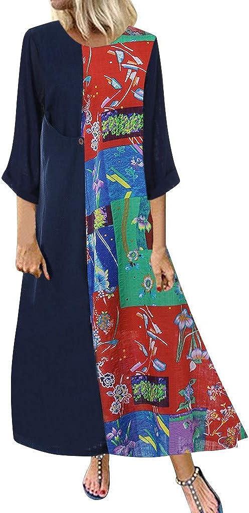 TUU Women Print Splice Long Sleeve Button Pocket O-Neck Three Quarters Sleeve Casual Dress
