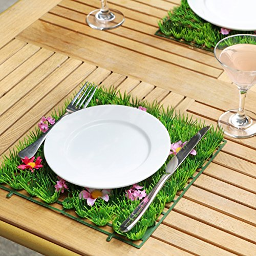 Set of 2/4 Artificial Grass Mat Party Table Decorations