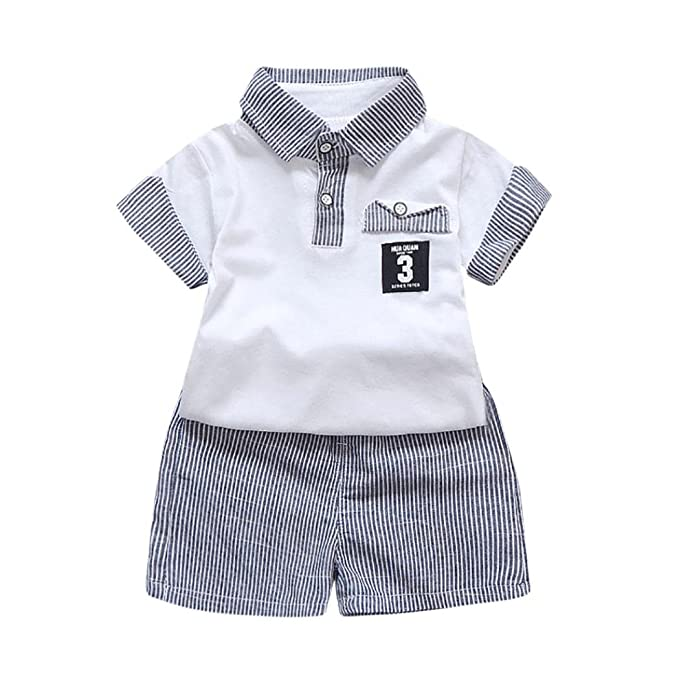 Bebé Recién Nacido, Zolimx 2pcs Bebé Niño Letra Impresa Camiseta Tops + Rayas Pantalones Cortos Trajes Conjunto de Ropa