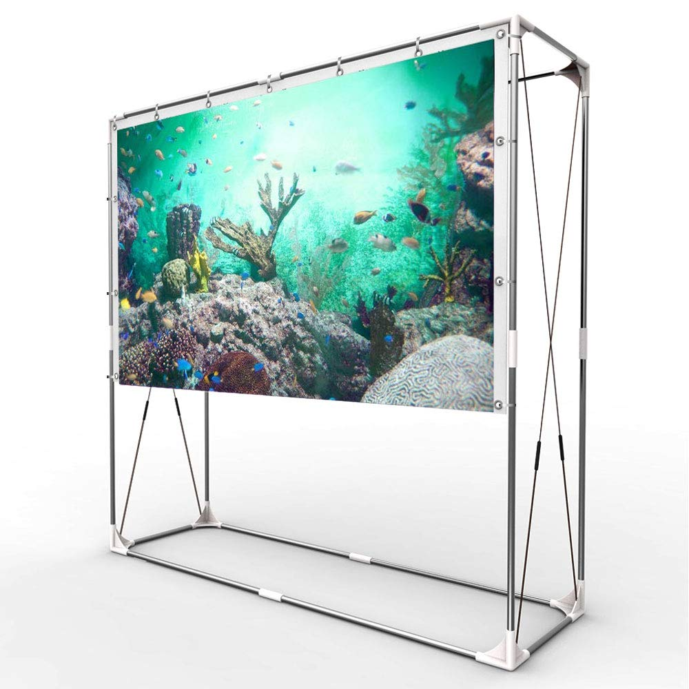 JaeilPLM 100-Inch Portable Projector Screen, Indoor Outdoor Compatible with Rectangle Stand for Home Theater, Gaming, Office