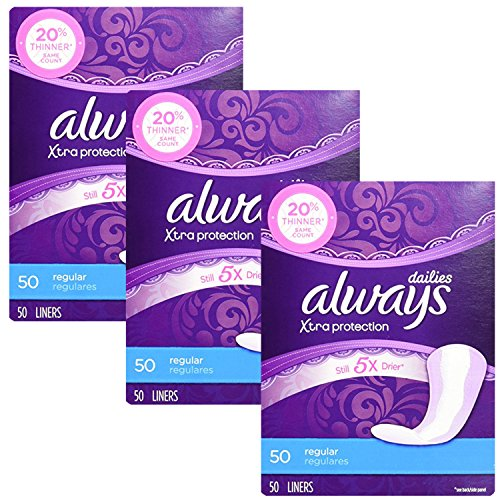 Always Xtra Protection Regular Daily Liners, 50 Count (Pack of 3)