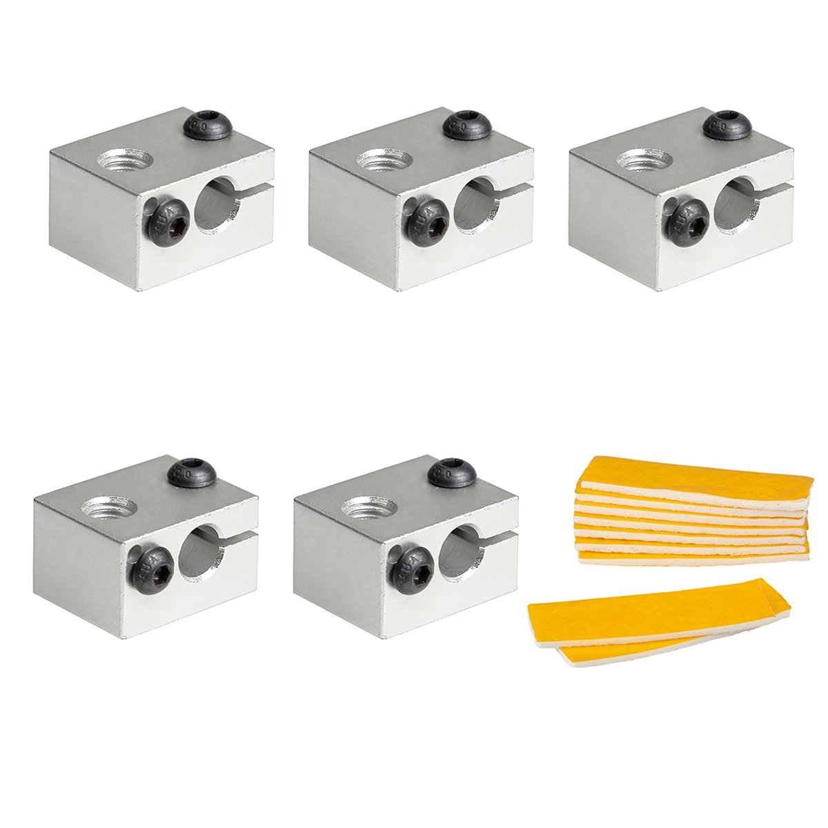 V6 Aluminum Extruder Hotend Nozzle Throat Heater Block with 10pcs 2mm Thick Heat-Insulated Cotton, for Makerbot 3D Printer