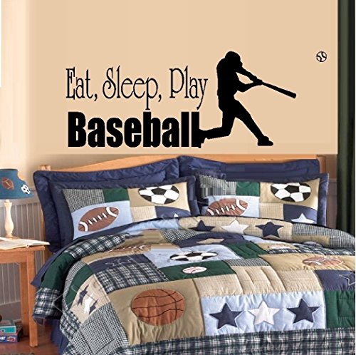 "2 Sports Window Graphics (Eat Sleep Play Baseball #2 ~ Wall or Window Decal - Sports ~ 11"" x 31"" Black By: Starlight Decals)"