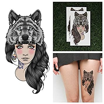 f4c5540a58138 Amazon.com : Tattify Wolf Headdress Temporary Tattoo - Leader of the Pack  (Set of 2) - Other Styles Available - Fashionable Temporary Tattoos : Beauty