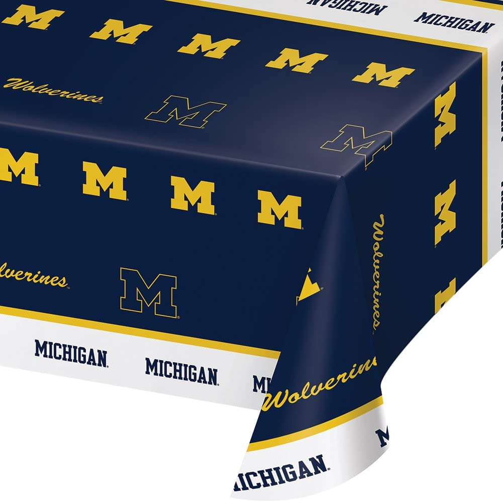 "Creative Converting University of Michigan Print Tablecloth, 54""x108"", Plastic Flag Banner"