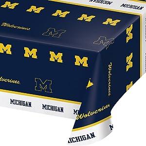 "Creative Converting University of Michigan Print Tablecloth, 54""x108"", Plastic Flag Banner"