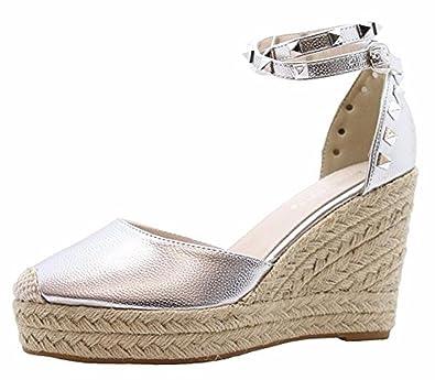 2c54d1d02d39 SAUTE STYLES Ladies Women High Wedge Stud Espadrilles Platform Ankle Strap  Sandals Shoes Size 3-